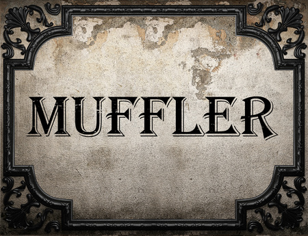 muffler: muffler word on concrette wall