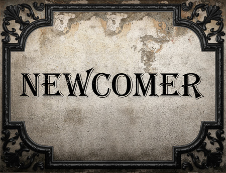 newcomer: newcomer word on concrette wall