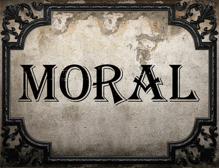 moral: moral word on concrette wall Stock Photo