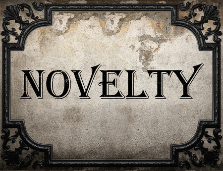 novelty: novelty word on concrette wall Stock Photo