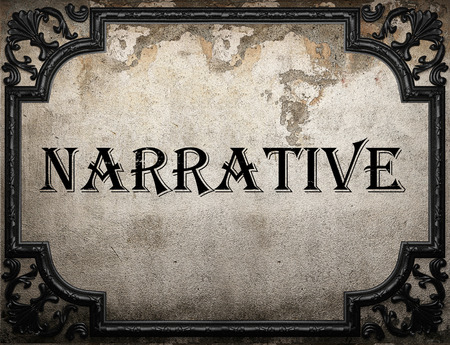 narrative: narrative word on concrette wall