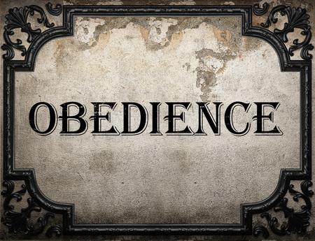 obediencia: palabra obediencia en la pared concrette Foto de archivo