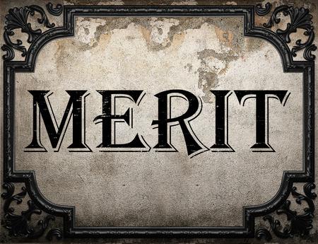 merit: merit word on concrette wall Stock Photo