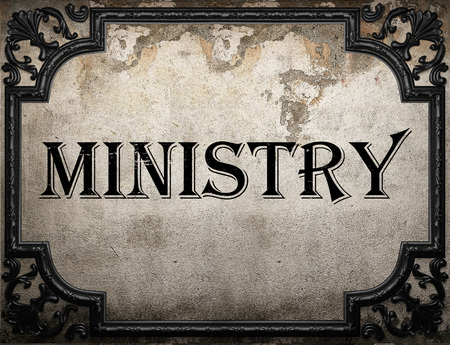 ministry: ministry word on concrette wall Stock Photo