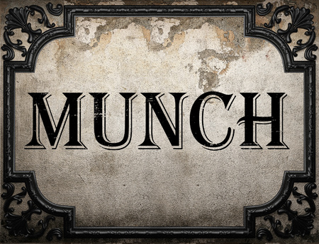 munch: munch word on concrette wall Stock Photo