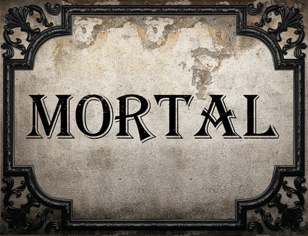 mortal: mortal word on concrette wall Stock Photo