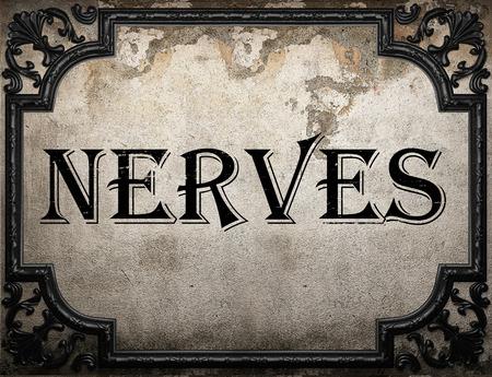 nervios: nervios de palabras en la pared concrette