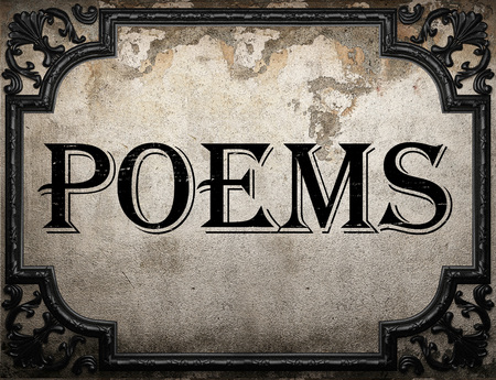 poems: poems word on concrette wall