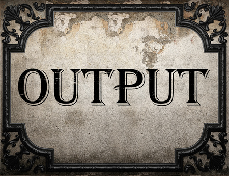output: output word on concrette wall Stock Photo