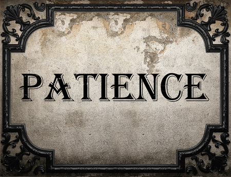 paciencia: palabra paciencia en la pared concrette