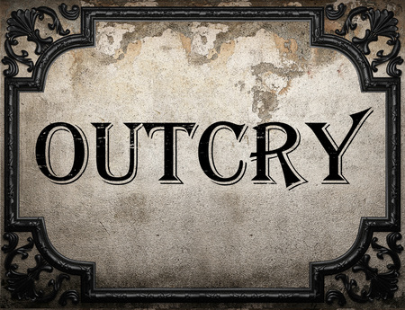 outcry: outcry word on concrette wall