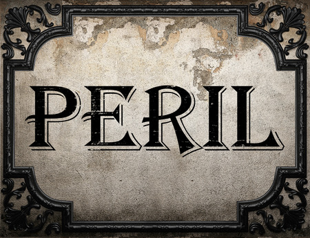 peril: peril word on concrette wall