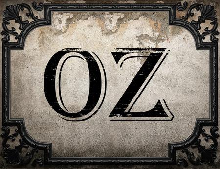oz: oz word on concrette wall Stock Photo