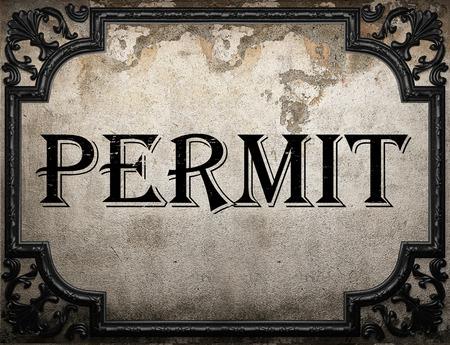 permit: permit word on concrette wall Stock Photo