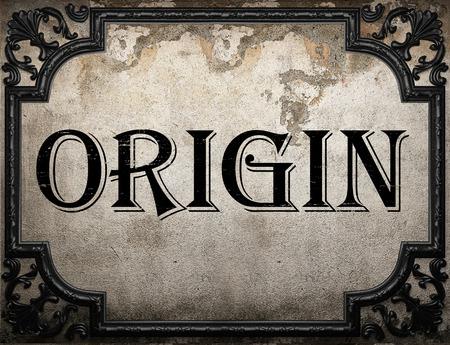 origin: origin word on concrette wall