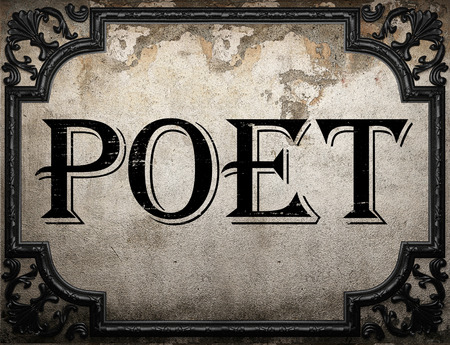 poet: poet word on concrette wall Stock Photo