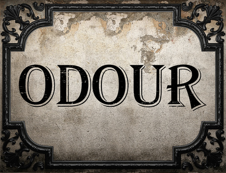 odour: odour word on concrette wall