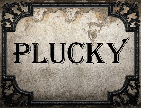 plucky: plucky word on concrette wall
