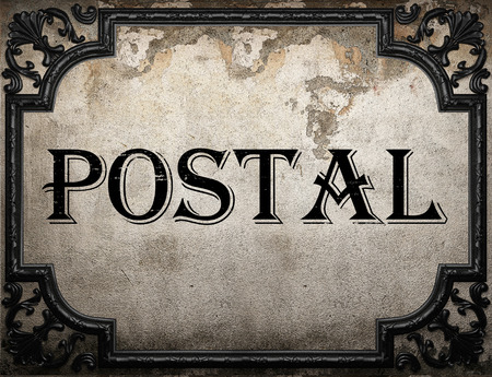 postal: postal word on concrette wall Stock Photo