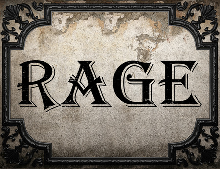 rage: rage word on concrette wall Stock Photo