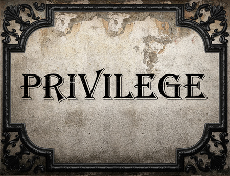 privilege: privilege word on concrette wall Stock Photo