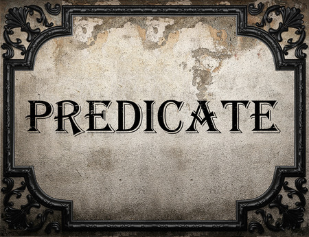 predicate word on concrette wall Stock Photo