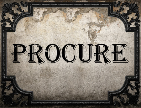 procure: procure word on concrette wall