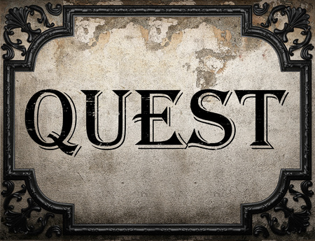 quest: quest word on concrette wall Stock Photo
