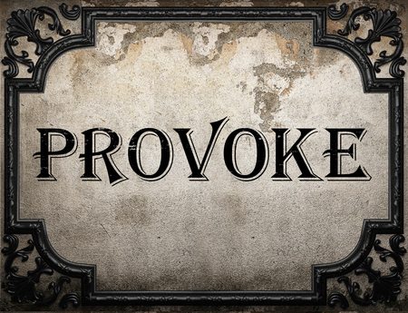 provoke: provoke word on concrette wall Stock Photo