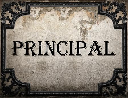 principal word on concrette wall