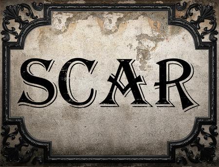 scar: scar word on concrette wall