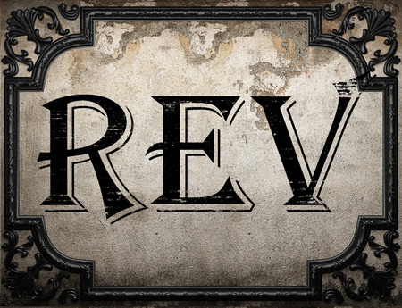 rev: rev word on concrette wall
