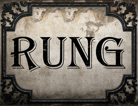rung: rung word on concrette wall Stock Photo