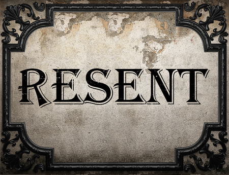 resent: resent word on concrette wall