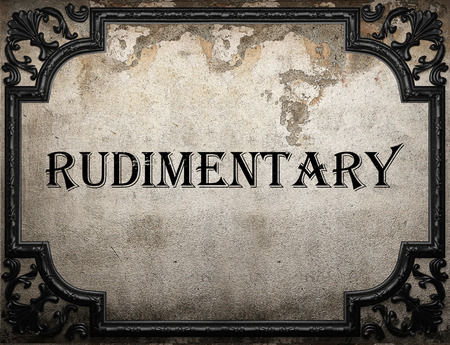 rudimentary: rudimentary word on concrette wall