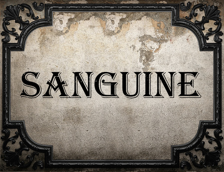 sanguine: sanguine word on concrette wall