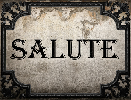 salute: salute word on concrette wall Stock Photo