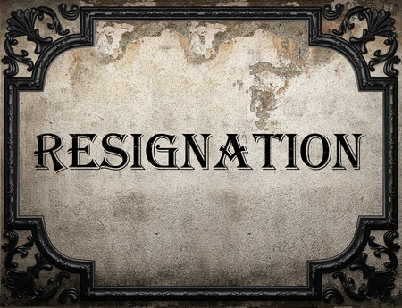 resignation: resignation word on concrette wall Stock Photo