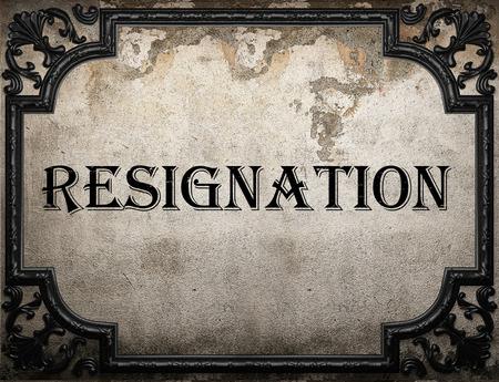 resignation: resignation word on concrette wall Stock Photo