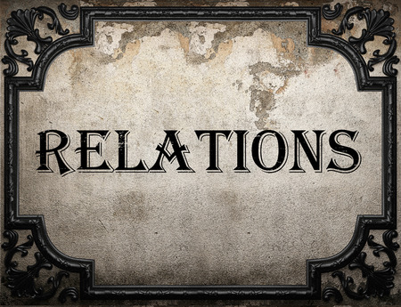 relations: relations word on concrette wall