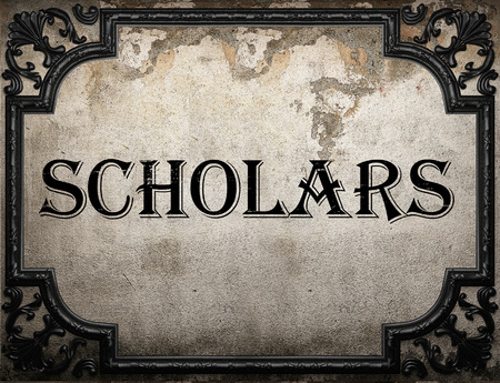 scholars: scholars word on concrette wall