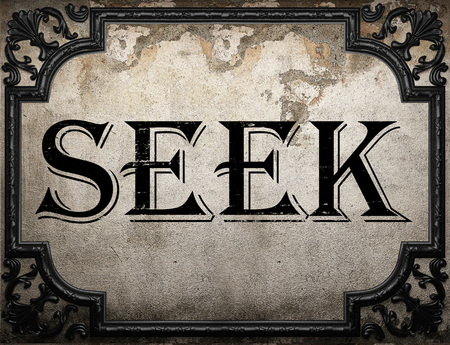 seek: seek word on concrette wall