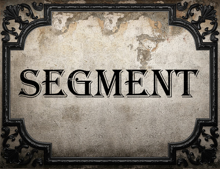 segmento: segment word on concrette wall Foto de archivo