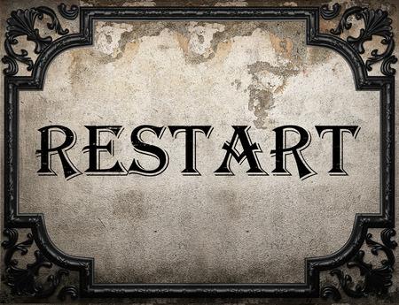 restart: restart word on concrette wall