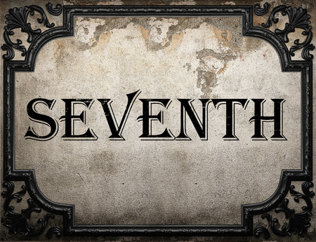 seventh: seventh word on concrette wall