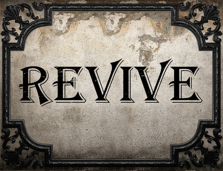 revive: revive word on concrette wall Stock Photo