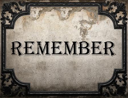 recordar: recordar la palabra en la pared concrette