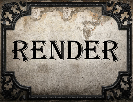 render: render word on concrette wall Stock Photo