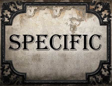 specific: specific word on concrette wall Stock Photo