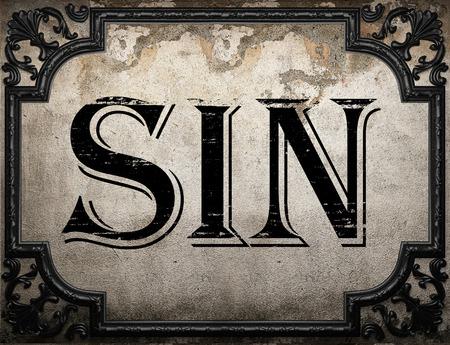 pecado palabra en la pared concrette Foto de archivo